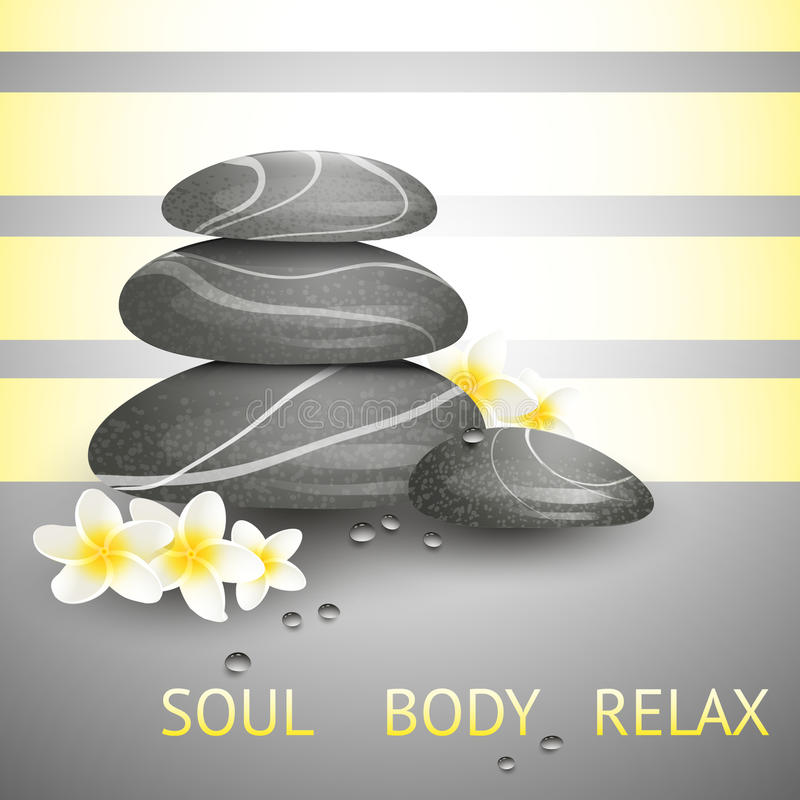 Vector still life on spa theme with stones. And flowers on gray background royalty free illustration
