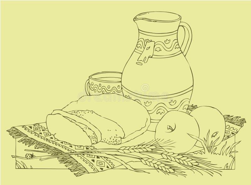 Vector stilleven van appelen, brood en melk royalty-vrije illustratie