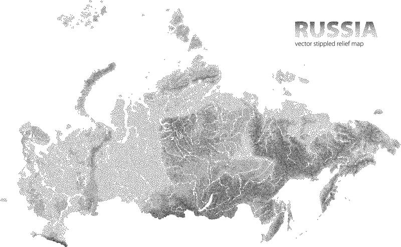 Vector stippled relief map of Russia stock illustration
