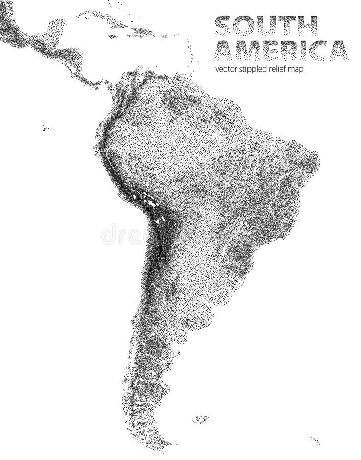 Vector stippled relief map of South America stock illustration