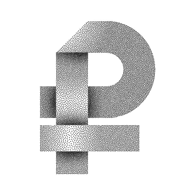 Vector Stippled Russian Rouble Sign Icon Ruble Currency Symbol