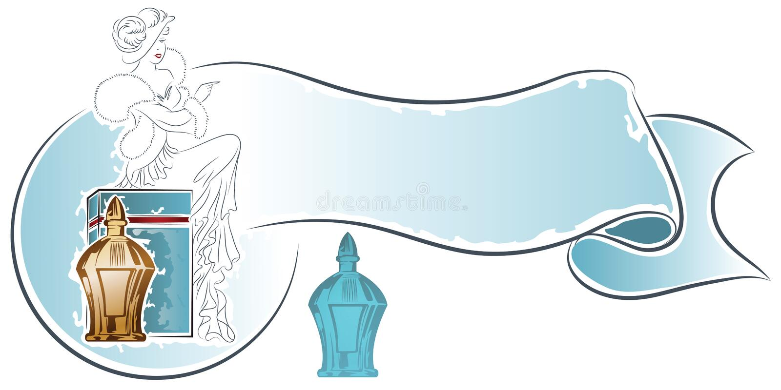 Vector stock. Beautiful girl early 20th century sits on a box of perfume.  stock illustration