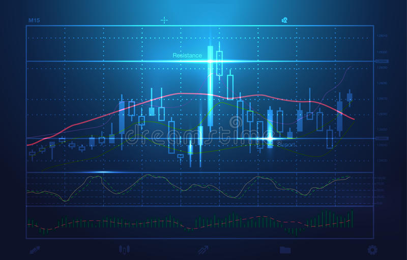 Vector stock charts and market analysis in blue theme. Illustration about stock investment. Ideal for technology concept background vector illustration