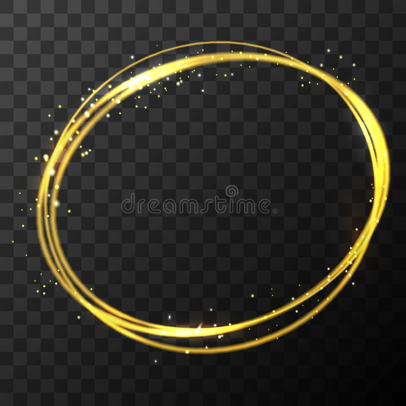 Free Vector Stock Gold Glitter Shine Magic Round Circle Frame. Glowing Neon Sparkle Golden Border Effect On Dark Transparent Stock Photo - 187158950