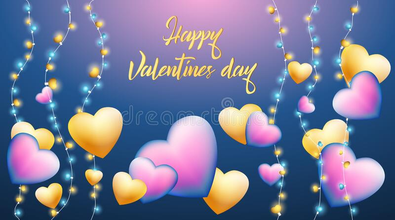 Vector stock illustration 3d metallic gradient purple, gold hearts, realistic garland, decorative shining lights. Happy Valentine vector illustration