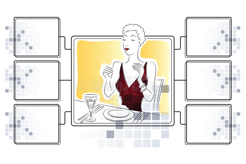 Vector stock illustration. Girl eating. Template for infographics with rams for information stock illustration