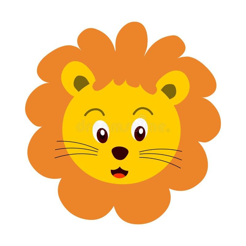 Cartoon lion head, Lion head, animal head.Cartoon lion face stock illustration