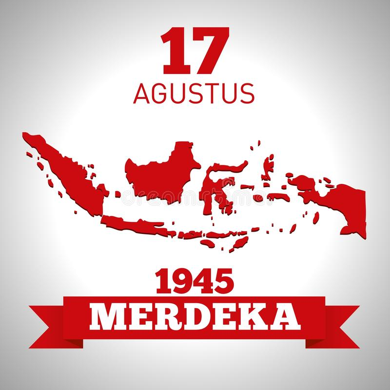 Long live the republic of Indonesia 17th August . Indonesian republic`s Independence day. stock illustration