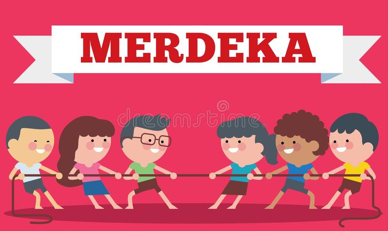 Indonesia traditional special games during Hari Merdeka, Independence Day of Indonesia, children tug of war. Flat Illustration sty vector illustration
