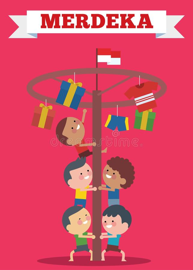 Indonesia traditional special games during Hari Merdeka ,Independence Day of Indonesia, children climbed the areca nut royalty free illustration