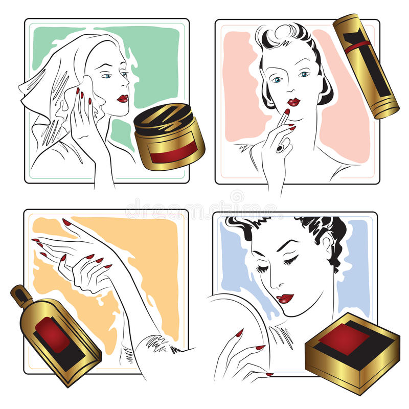 Vector stock. Infographics. Beautiful girl caring for her face. vector illustration