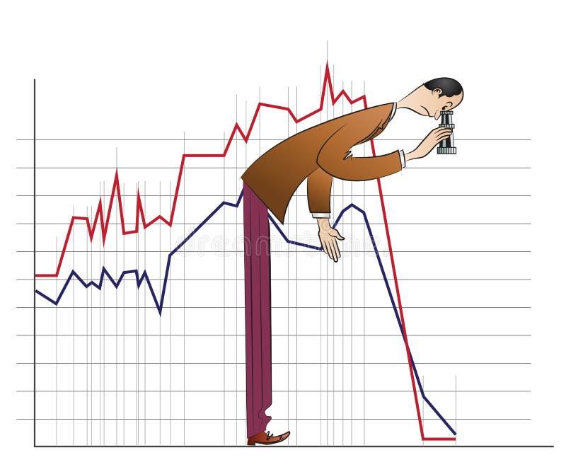Vector stock infographics. Businessman considers binoculars fallen schedule stock illustration