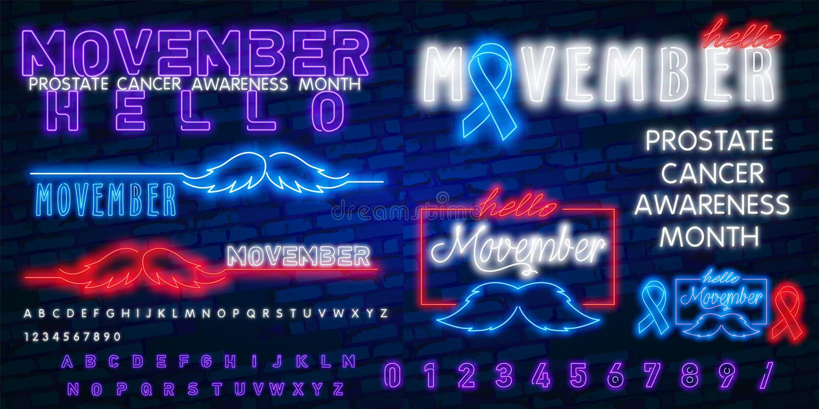 Neon Movember, Prostate Cancer Blue Awareness Ribbon with neon Mustache. November month of struggle against prostate cancer. Vector Stock Template, Prostate vector illustration