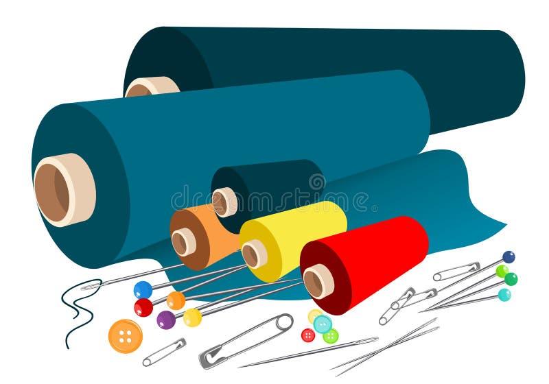 Vector stoffen naaiende toebehoren stock illustratie