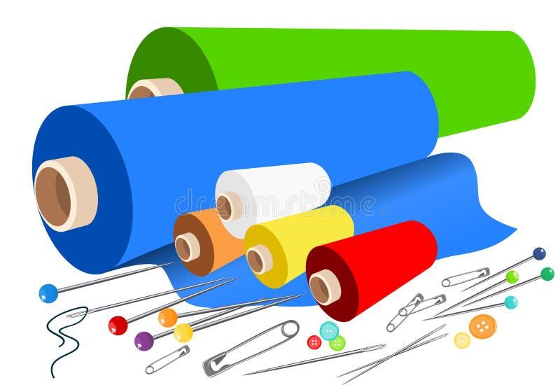 Vector stoffen naaiende toebehoren royalty-vrije illustratie