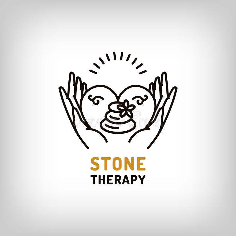 Vector stone therapy, beauty spa, relax icon, health love symbol. Vector stone therapy logo, beauty spa, relax icon, health and love symbol. Stone massage royalty free illustration