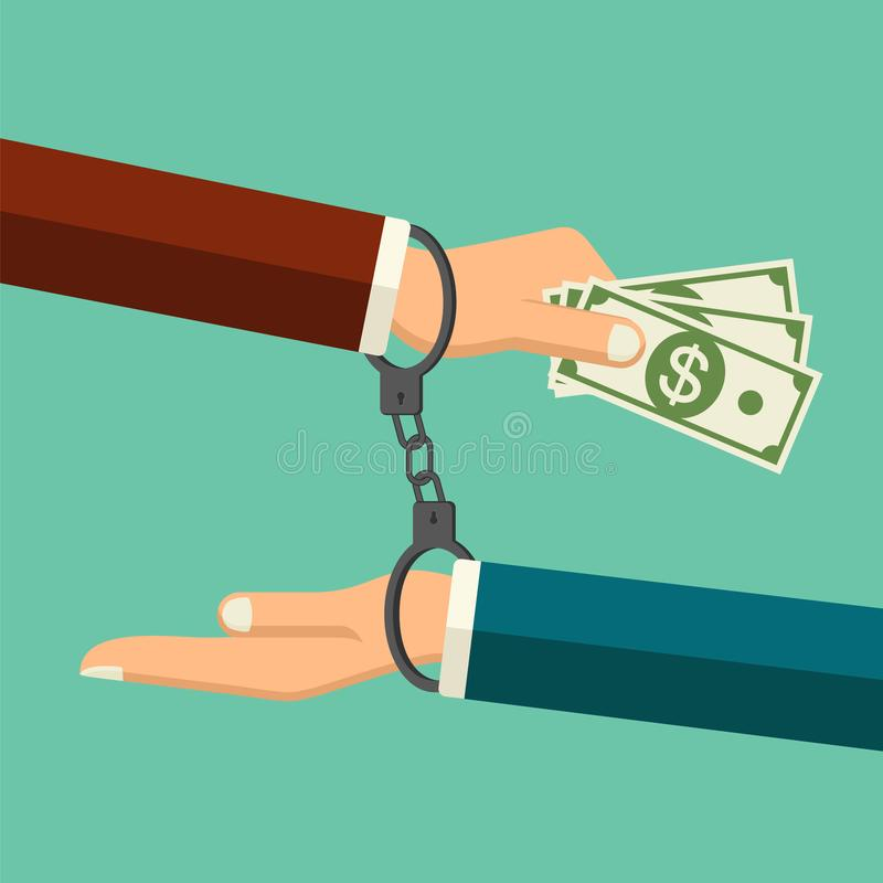 Vector stop corruption concept. Handcuffs on hands giving money during business corruption. Bribery vector. Anti corruption icon. Vector stop corruption concept vector illustration