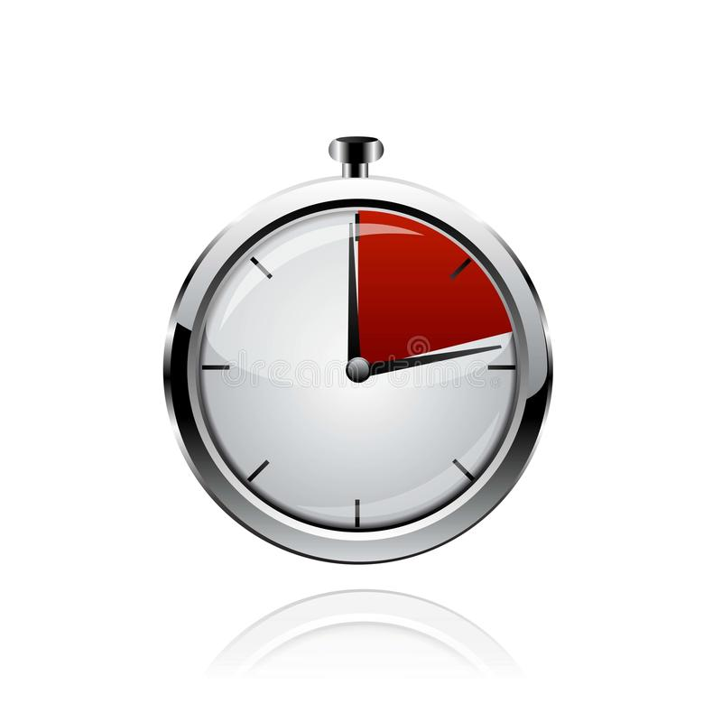 Vector stop watch, realistic illustration. On white stock illustration
