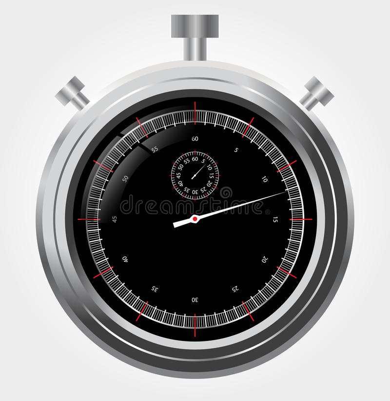 Vector stopwatch in high detail Retro mechanic ch stock illustration