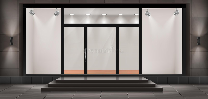 Vector storefront, lege verlichte toonzaal royalty-vrije illustratie