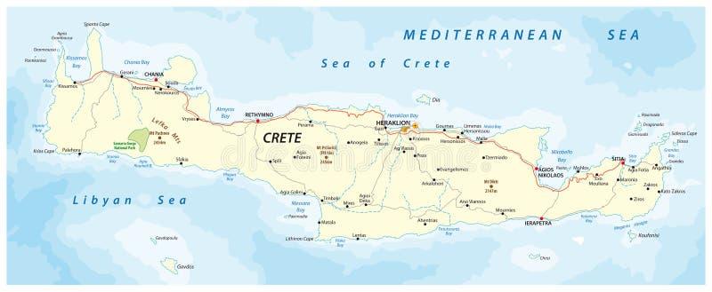 Vector Straßenkarte von griechischer Mittelmeerinsel Kreta lizenzfreie abbildung