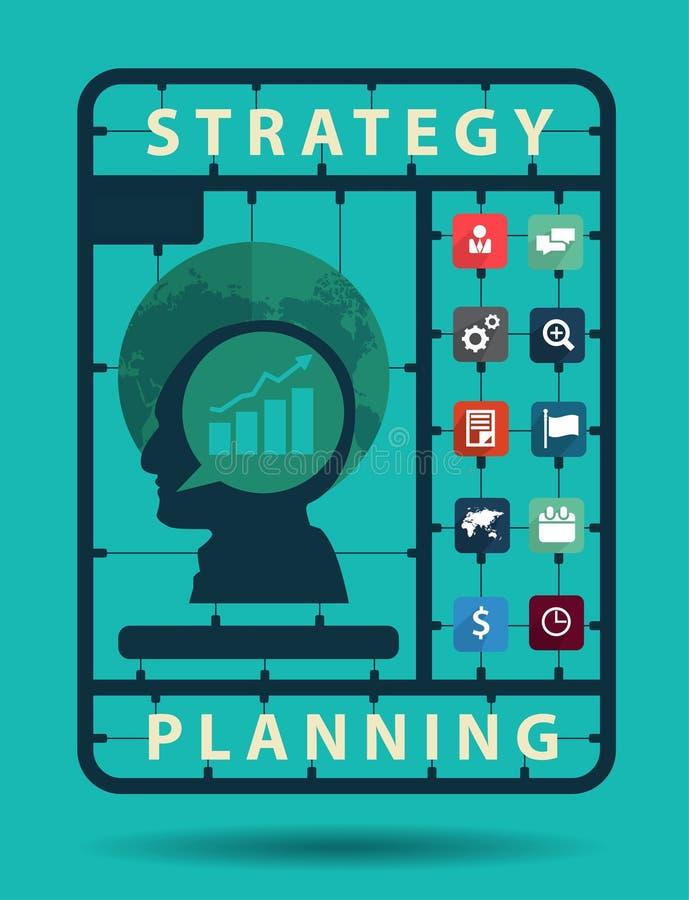 Vector Strategieplanungs-Ideenkonzept mit flachen Ikonen des Geschäfts vektor abbildung