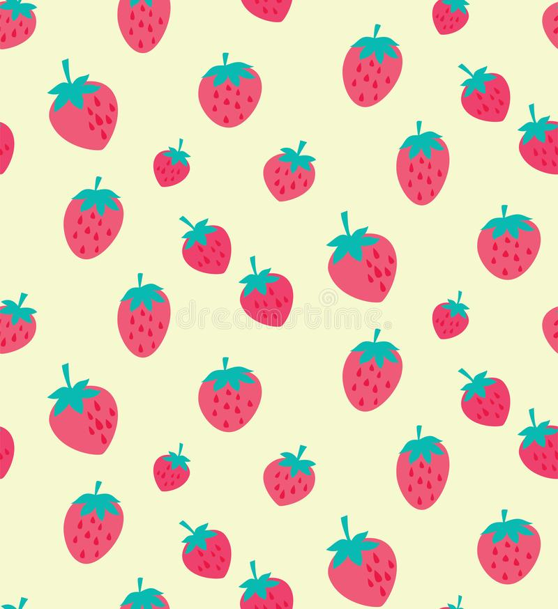 Vector pink and red strawberry seamless pattern. Vector strawberries on cream background seamless pattern background. Perfect for crafting projects, quilting stock illustration