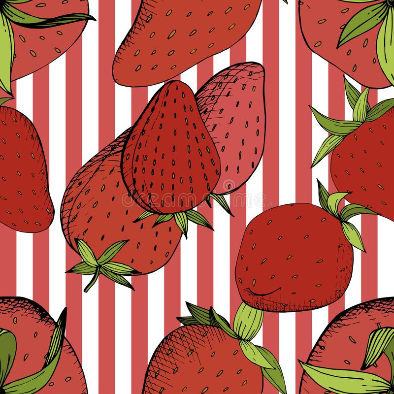 Vector Strawberry fresh fruit healthy food. Red and green engraved ink art. Seamless background pattern. vector illustration