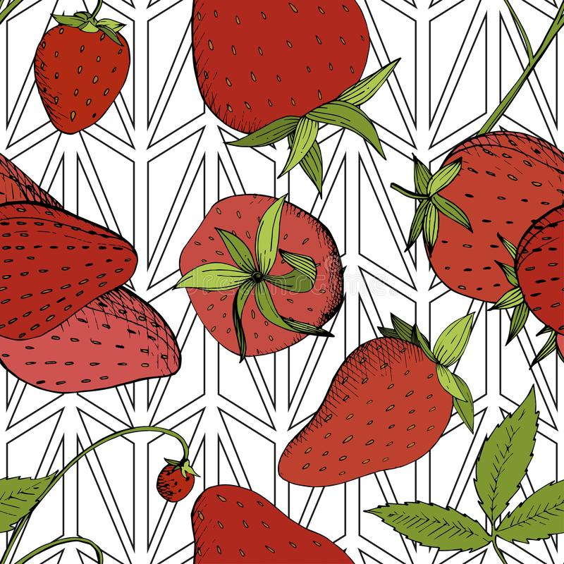 Vector Strawberry fresh fruit healthy food. Red and green engraved ink art. Seamless background pattern. stock illustration