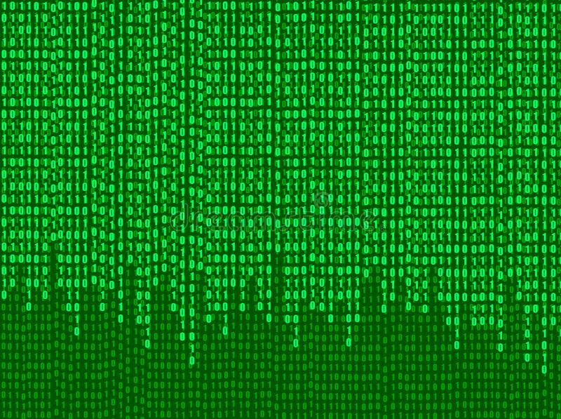 Vector Stream of Binary Code Numbers, Technology Background, Green Screen Shining Illustration. Shining Backdrop royalty free illustration
