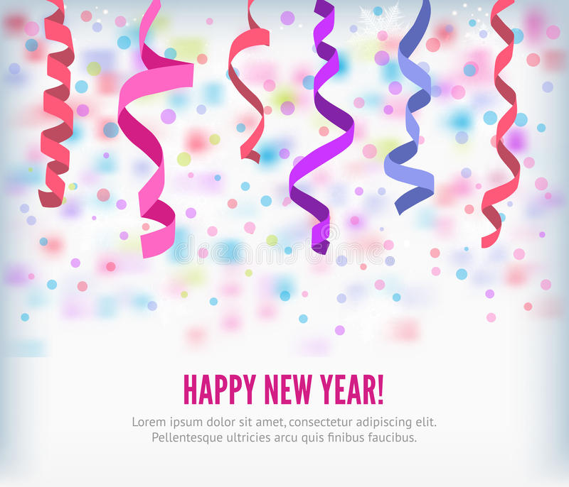Vector streamers and confetti background. Happy New Year festive streamers celebration background. Streamers and curved swirl paper ribbon. streamers and vector illustration