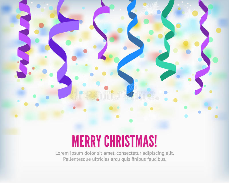 Vector streamers and confetti background. Merry Christmas set of colorful flat streamers and confetti on light background. Carnival winter party serpentine party royalty free illustration
