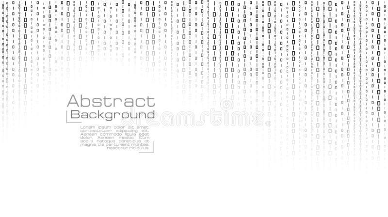 Vector streaming binary code on white background. stock illustration
