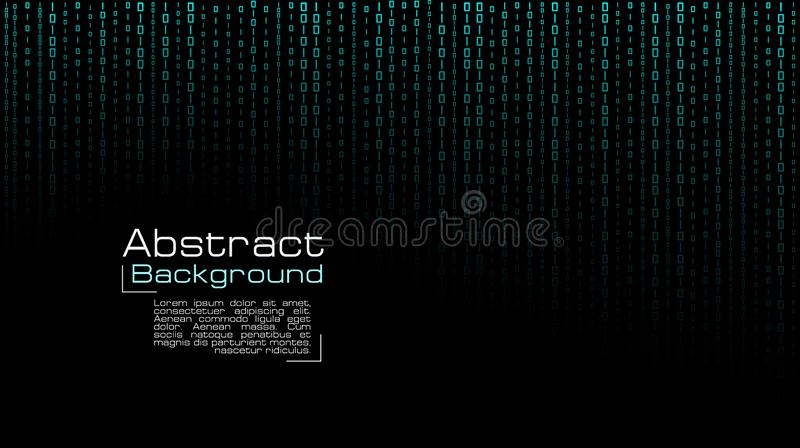 Vector streaming blue binary code on black background. stock illustration