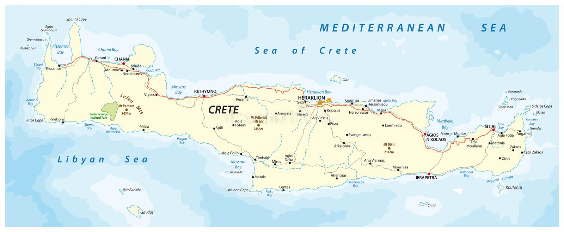 Vector street map of greek mediterranean island crete.  royalty free illustration