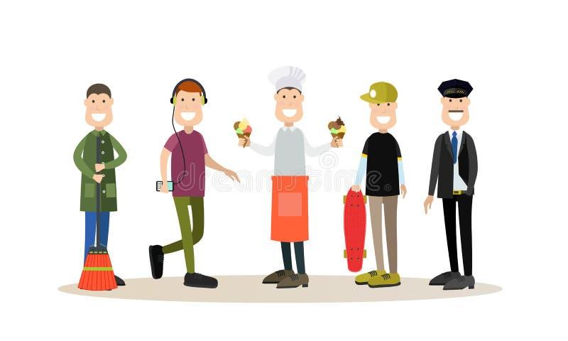 Street people vector flat icon set royalty free illustration