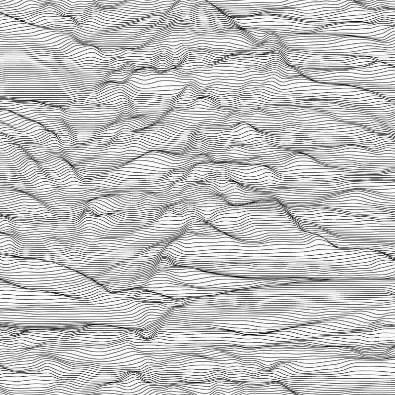 Free Vector Striped Grayscale Background. Abstract Line Waves. Sound Wave Oscillation. Funky Curled Lines. Elegant Wavy Royalty Free Stock Photo - 91282125