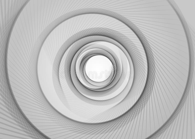 Vector striped spiral abstract tunnel background. Spiral funnel. Gray twisted ray hole. Exciting gently spiraling optical illusion vector illustration