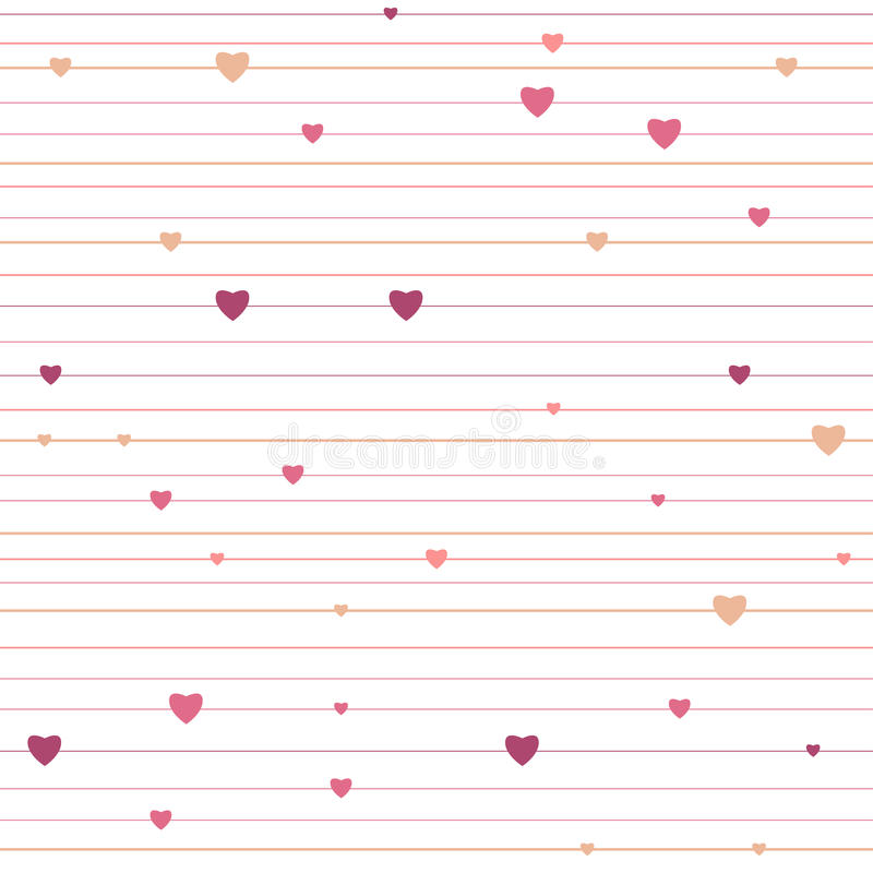 Vector stripped geometric seamless pattern with hearts stock illustration
