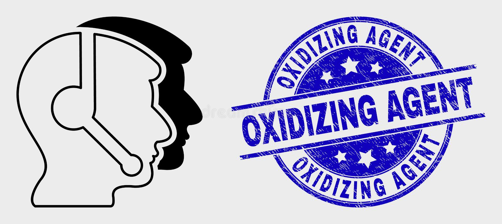 Vector Linear Call Service Operators Icon and Grunge Oxidizing Agent Stamp. Vector stroke call service operators icon and Oxidizing Agent seal stamp. Blue round vector illustration