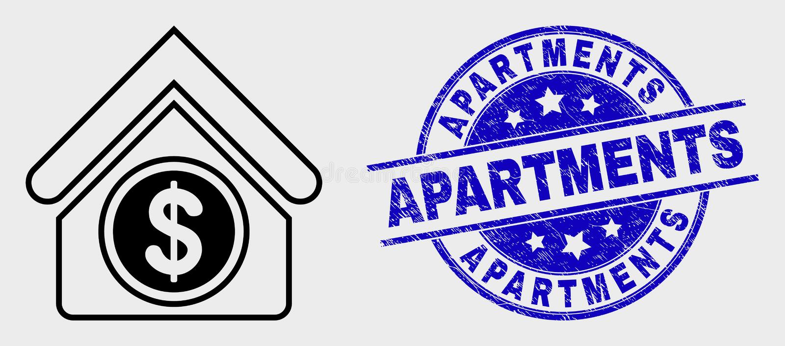 Vector Stroke Commercial Building Icon and Distress Apartments Watermark. Vector stroke commercial building pictogram and Apartments stamp. Blue round grunge vector illustration