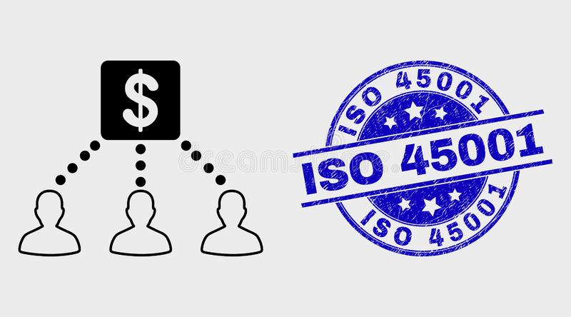 Vector Linear Financial Clients Links Icon and Distress ISO 45001 Watermark. Vector stroke financial clients links icon and ISO 45001 seal. Blue rounded grunge royalty free illustration