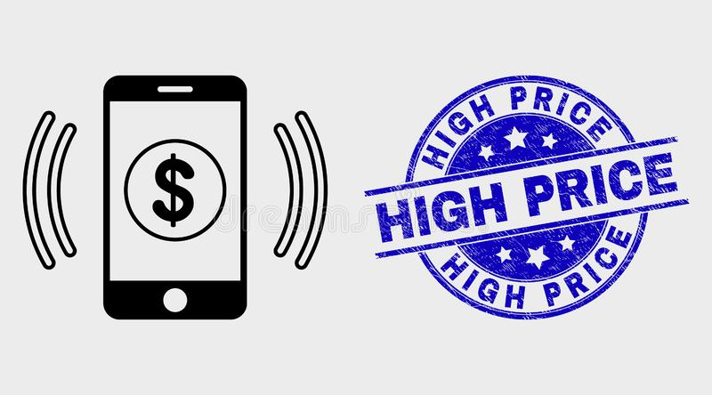 Vector Linear Financial Smartphone Vibration Icon and Distress High Price Stamp Seal. Vector stroke financial smartphone vibration pictogram and High Price seal stock illustration