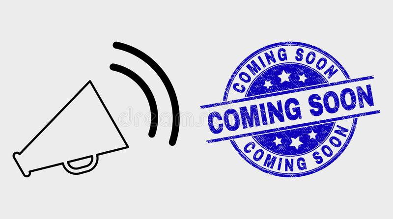 Vector Linear Megaphone Sound Icon and Scratched Coming Soon Watermark royalty free illustration