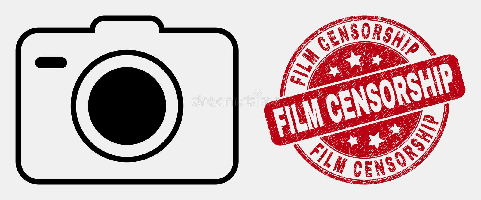 Vector Line Photo Camera Icon and Distress Film Censorship Watermark. Vector stroke photo camera pictogram and Film Censorship seal stamp. Blue round textured vector illustration