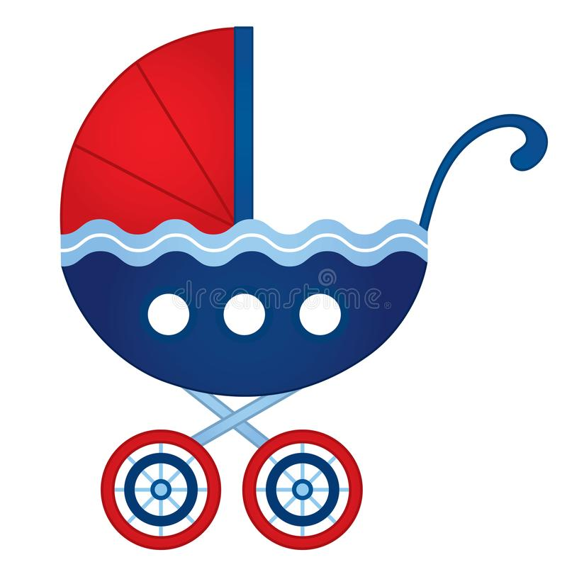 Vector Stroller in Nautical Style. In red and blue colors. Vector stroller for baby boy or baby girl. Stroller vector illustration royalty free illustration
