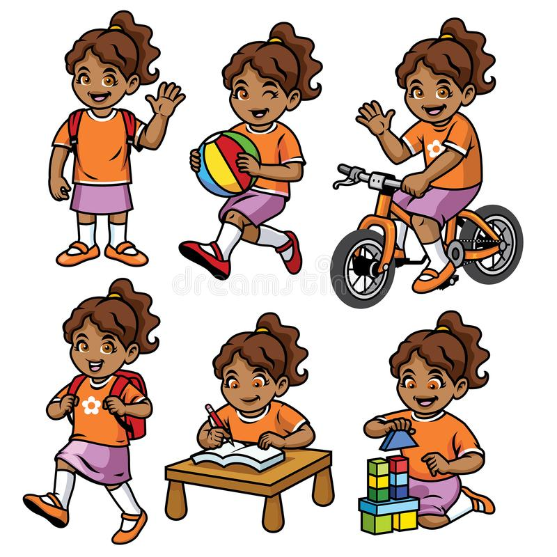 Student girl set in various pose and activity. Vector of student girl set in various pose and activity stock illustration