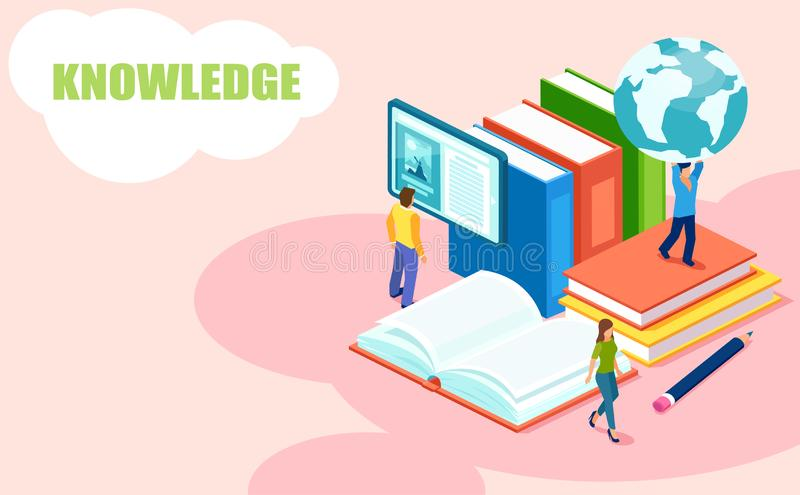 Vector of students reading books receiving international college degrees. Online education and library concept. Vector of students reading books receiving vector illustration