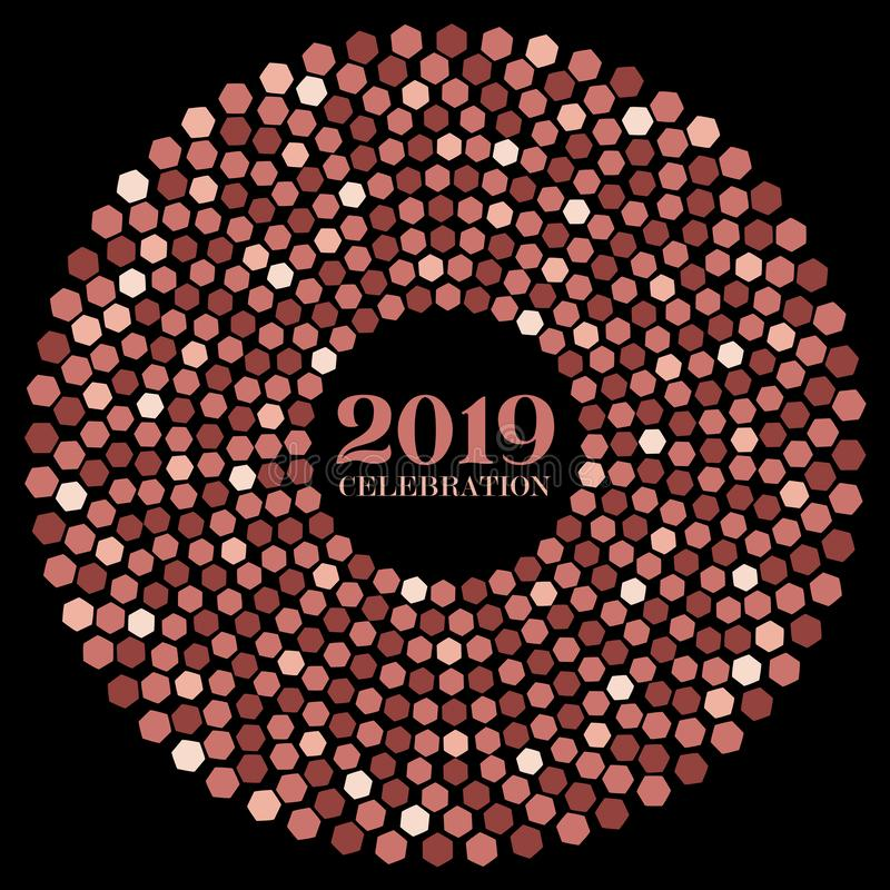 Vector style design of a single radial burst with hexagons of New Year 2019 in rose gold flat colors. On a black isolated background stock illustration