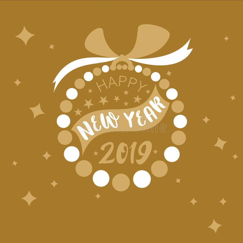 Vector style simple bauble ring designed with alternating gold and white flat color circles with Happy New Year 2019 royalty free illustration